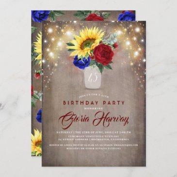 sunflowers burgundy navy blue rustic birthday invitation