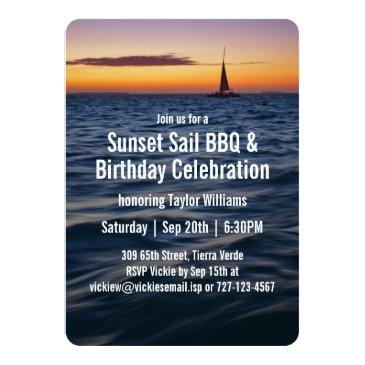 sunset sail contemporary birthday invitation