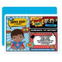 superhero 1st birthday party / african american invitation