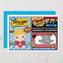 superhero 1st birthday party comics / blond hair invitation