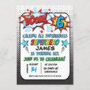 superhero 6th birthday party invitation