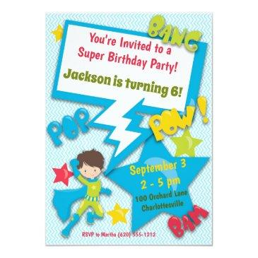Small Superhero Birthday Invitation (boy, Blue) Front View