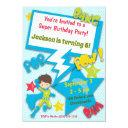 superhero birthday invitations (boy, blue)