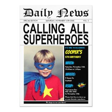 superhero birthday party hero boy girl photo invitation