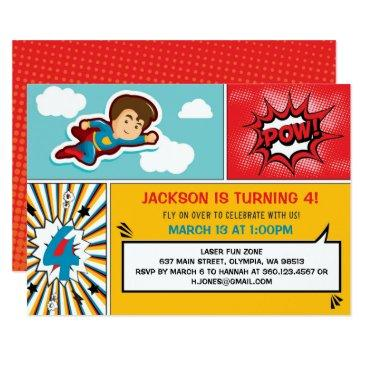 superhero birthday party invitations - boy colors
