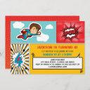superhero birthday party invitation - boy colors