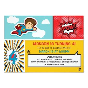 Small Superhero Birthday Party Invitation - Boy Colors Front View