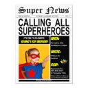 superhero birthday party super hero girl boy photo invitation
