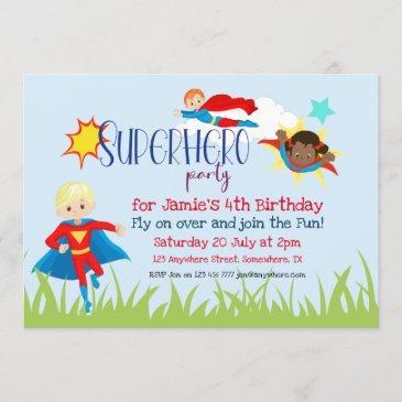 superhero boy/girl birthday party invitation