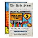 superhero boy's newspaper comic style birthday invitation