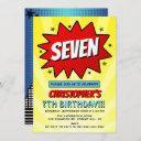 superhero comic book any age birthday invitations
