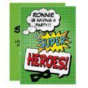 superhero comic strip kids birthday party invitations