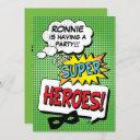 superhero comic strip kids birthday party invitation
