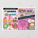 superhero girls birthday girl power super hero invitation