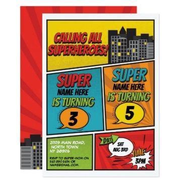 superhero invitation shared joint party boys comic