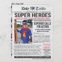 superhero newspaper invitation - 6.5 x 8.75