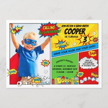 superhero party super hero photo birthday invitation