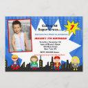 superhero photo birthday party invitations