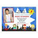 superhero photo birthday party invitations