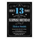 surprise 13th birthday invitation blue and black