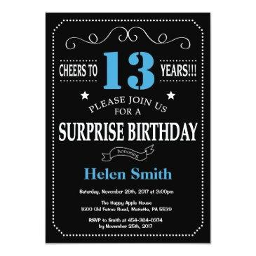 surprise 13th birthday invitation blue and black
