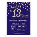 surprise 13th birthday navy blue and gold diamond invitation