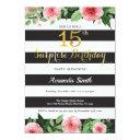 surprise 15th birthday invitations teen floral