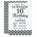 surprise 16th birthday invitation black chevron