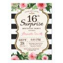 surprise 16th birthday invitation floral