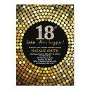 surprise 18th birthday black and gold glitter invitations