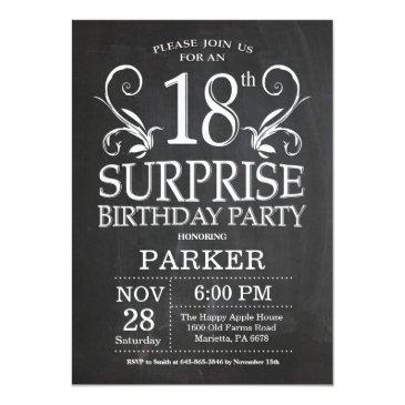 Surprise 18th Birthday Invitations Chalkboard