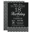 surprise 18th birthday invitation silver glitter