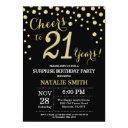 surprise 21st birthday black and gold diamond invitation