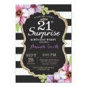 surprise 21st birthday invitations floral gold
