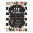 surprise 21st birthday invitation women. floral