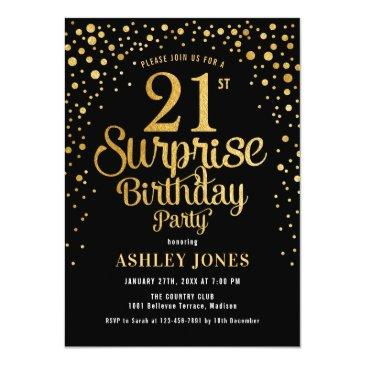 Small Surprise 21st Birthday Party - Black & Gold Invitation Front View