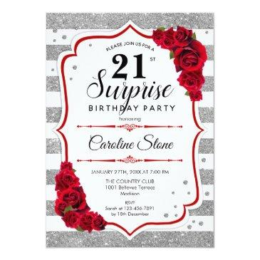 Small Surprise 21st Birthday - Silver White Red Invitation Front View