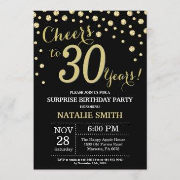 surprise 30th birthday black and gold diamond invitation