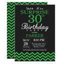 surprise 30th birthday black and green chevron invitation