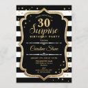 surprise 30th birthday - black white gold invitation