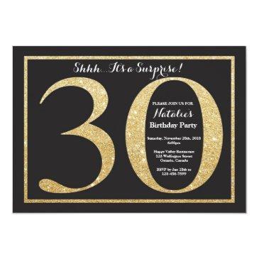 Surprise 30th Birthday Invitation Gold Glitter