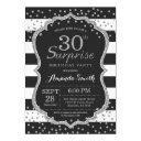 surprise 30th birthday invitation. silver glitter invitation