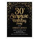 surprise 30th birthday party - black & gold invitation