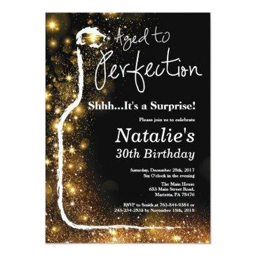 Small Surprise 30th Birthday Wine Aged To Perfection Invitation Front View