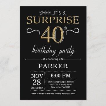 surprise 40th birthday invitation black and gold