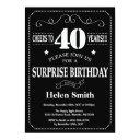 surprise 40th birthday invitations chalkboard