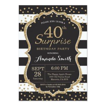 surprise 40th birthday invitation. gold glitter invitation