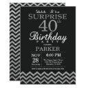 surprise 40th birthday invitations silver glitter