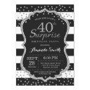 surprise 40th birthday invitation. silver glitter invitation