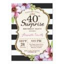 surprise 40th birthday invitation women floral